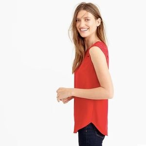 J. Crew Red Floral Lace Shoulder Sleeveless Top 0P